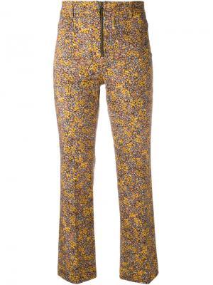 Укороченные брюки с цветочным принтом Philosophy Di Lorenzo Serafini. Цвет: жёлтый и оранжевый