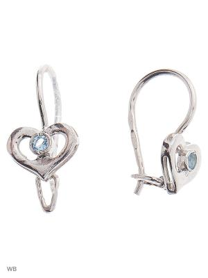 Серьги детские ACCENT jewelry. Цвет: светло-голубой