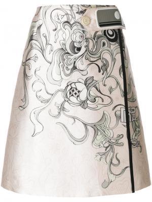 Юбка А-силуэта с цветочным принтом Prada. Цвет: телесный