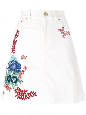 Джинсовая юбка с вышивками House Of Holland. Цвет: белый
