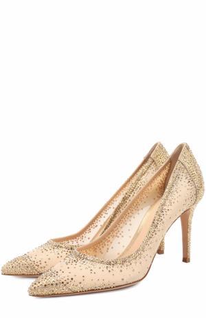 Туфли с кристаллами Swarovski на шпильке Gianvito Rossi. Цвет: золотой