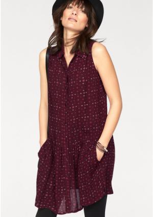 Платье-рубашка BOYSENS BOYSEN'S. Цвет: винный с рисунком