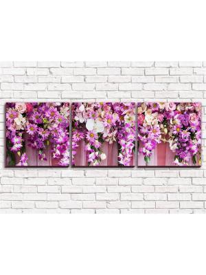 Картина Цветочный верх 2 ФКХ3-3/ Олимп Текстиль. Цвет: темно-коричневый,бледно-розовый