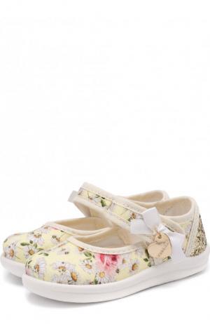 Текстильные туфли с застежками велькро и глиттером Monnalisa. Цвет: желтый