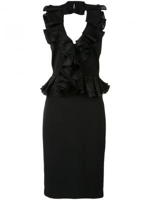 Ruffled V-neck fitted dress Badgley Mischka. Цвет: чёрный