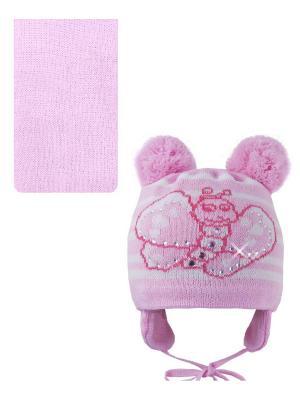 Шапка, шарф Pro-han. Цвет: розовый, белый
