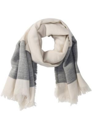 Широкая тканая шаль (каменно-бежевый/серая сталь) bonprix. Цвет: каменно-бежевый/серая сталь