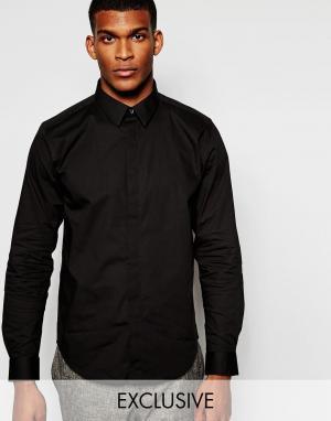 Wincer & Plant Строгая рубашка слим из стретчевого хлопка со скрытой планкой. Цвет: черный