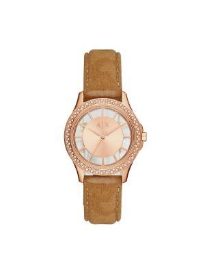 Часы Armani Exchange. Цвет: светло-коричневый, золотистый, розовый