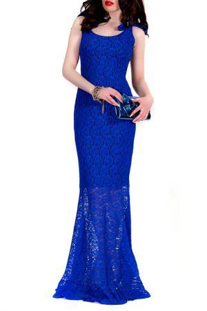 Платье MONT PELLIER. Цвет: ярко-синее кружево, черный