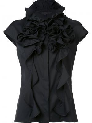 Блузка с оборками Walter Voulaz. Цвет: чёрный