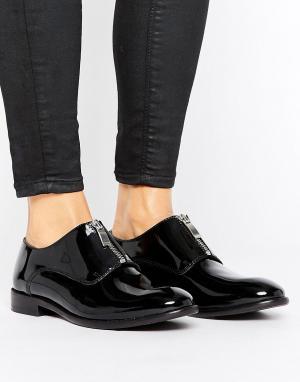 Hudson London Туфли на плоской подошве с молнией H by. Цвет: черный