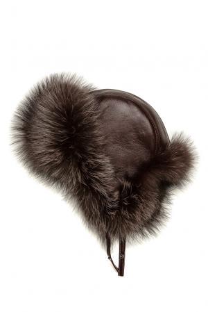 Кожаная шапка с отделкой из меха лисы 178513 Mkc. Цвет: красный