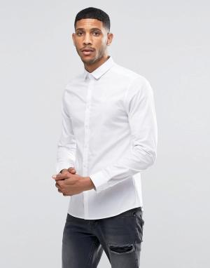 SikSilk Стретчевая рубашка зауженного кроя. Цвет: белый