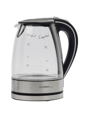 Чайник FIRST 5406-2 BA, стеклянный, объем 1,7 л, подсветка. Цвет: серый, прозрачный
