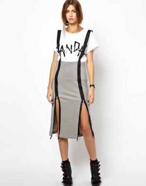 Трикотажная юбка на подтяжках с молнией BACK by Ann-Sofie Ann Sofie. Цвет: серый меланж