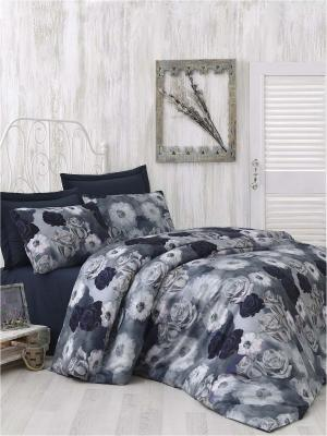 Комплект постельного белья AURA сатин, 200ТС, 100% хлопок, цифровая печать, евро ISSIMO Home. Цвет: темно-синий