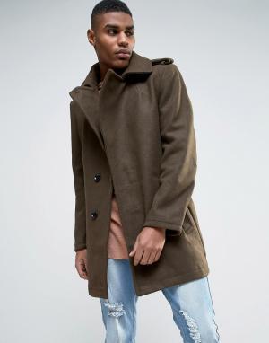 Criminal Damage Пальто на поясе с добавлением шерсти. Цвет: зеленый