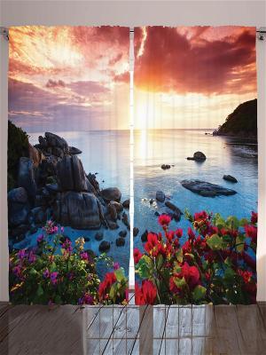 Комплект фотоштор Вид на море, 290*265 см Magic Lady. Цвет: бежевый, бледно-розовый, оранжевый, розовый, персиковый, белый, черный, синий, морская волна, голубой