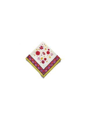 Салфетка Flowery red-green /Цветы красный-зеленый/ 50*50см, 100% хлопок Mas d'Ousvan. Цвет: белый, зеленый, красный