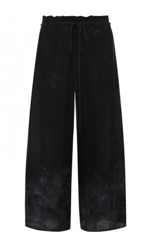 Укороченные шелковые брюки Raquel Allegra. Цвет: черный