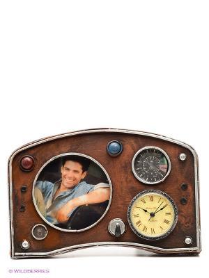 Фоторамка с часами Панель приборов  10х10см PLATINUM quality. Цвет: коричневый