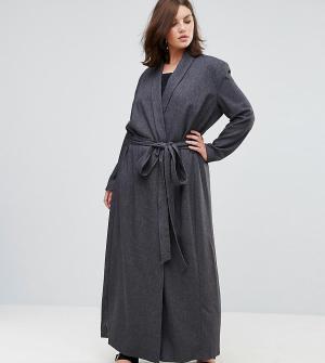 Elvi Темно-серое пальто с поясом. Цвет: черный