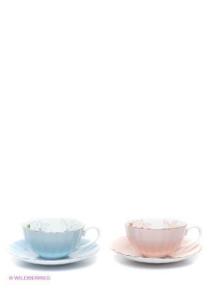Чайный набор Густо Лючия Pavone. Цвет: светло-голубой, бледно-розовый