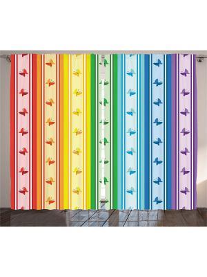 Комплект фотоштор для гостиной Бабочки и полоски, плотность ткани 175 г/кв.м, 290*265 см Magic Lady. Цвет: красный, голубой, желтый, зеленый, оранжевый, синий, фиолетовый