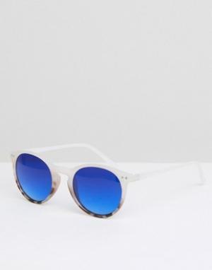 Jeepers Peepers Солнцезащитные очки в круглой оправе с голубыми стеклами Peepe. Цвет: белый
