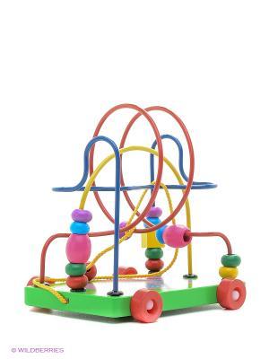 Деревянная игрушка  лабиринт-каталка Слоник Фабрика Фантазий. Цвет: зеленый, желтый, синий