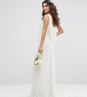 Amelia Rose Свадебное платье макси с драпированным вырезом на спине и отделкой Ame. Цвет: белый