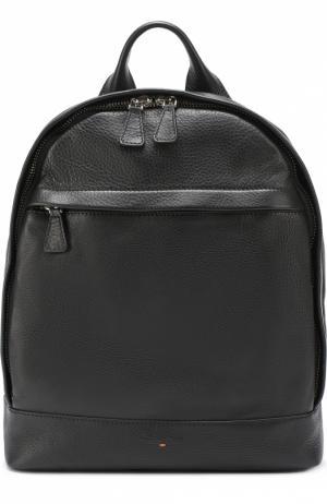 Кожаный рюкзак с внешним карманом на молнии Santoni. Цвет: черный