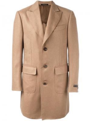 Однобортное пальто Corneliani. Цвет: телесный