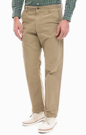 Хлопковые брюки бежевого цвета Alpha Straight Cropped Dockers. Цвет: бежевый