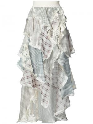Платье с рюшами и цветочным узором Zimmermann. Цвет: многоцветный