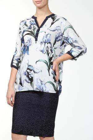 Блуза Grandi. Цвет: белый, голубой