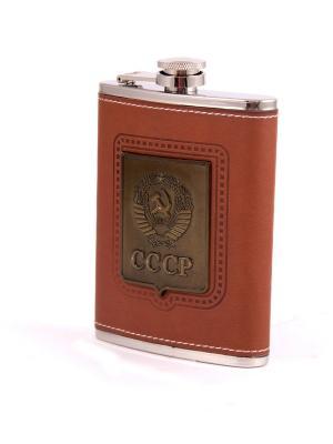 Фляжка подарочная СССР 230мл Русские подарки. Цвет: бронзовый, рыжий