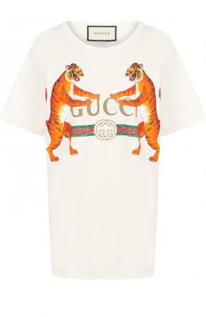 Хлопковая футболка свободного кроя с принтом Gucci. Цвет: белый