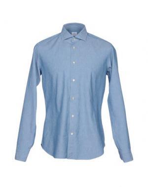 Джинсовая рубашка TRUZZI. Цвет: лазурный