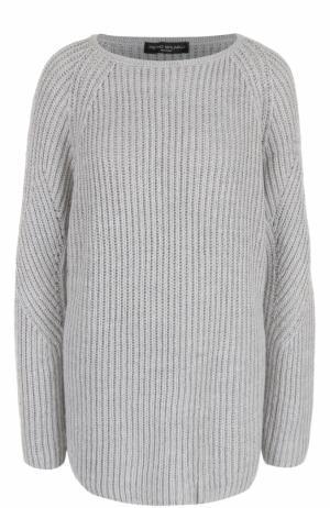 Удлиненный пуловер фактурной вязки Pietro Brunelli. Цвет: серый