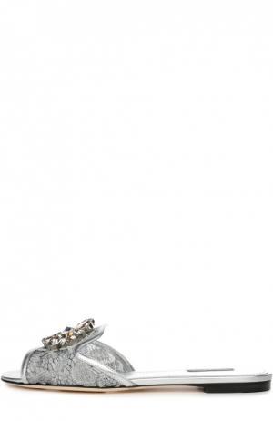 Кружевные шлепанцы Bianca с брошью Dolce & Gabbana. Цвет: серебряный