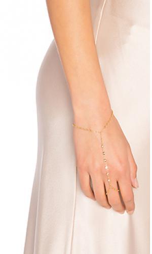7 cz finger bracelet Jacquie Aiche. Цвет: металлический золотой