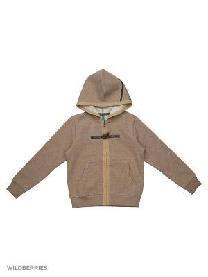 Толстовка с капюшоном United Colors of Benetton. Цвет: коричневый, серый