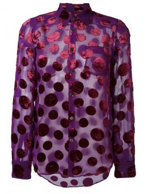 Прозрачная рубашка в горох Junya Watanabe Comme Des Garçons Vintage. Цвет: розовый и фиолетовый