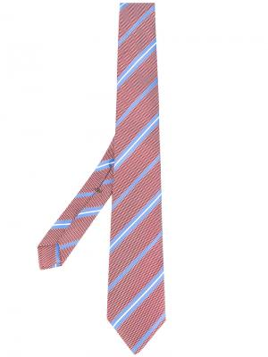 Галстук с полосатым узором Borrelli. Цвет: красный