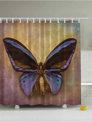 Фотоштора для ванной Яркие бабочки, 180*200 см Magic Lady. Цвет: бежевый, кремовый, черный, коричневый, сиреневый, бронзовый, фиолетовый