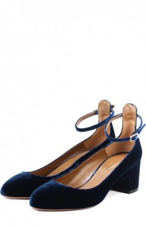 Бархатные туфли Alix с ремешком на щиколотке Aquazzura. Цвет: темно-синий