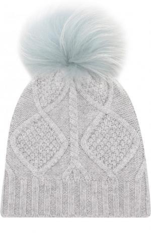 Шерстяная шапка фактурной вязки с меховым помпоном Yves Salomon Enfant. Цвет: голубой