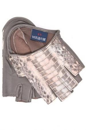 Перчатки Dali Exclusive. Цвет: серый, бежевая змея